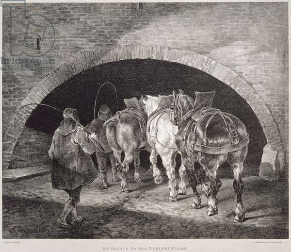 Entrance to the Adelphi Wharf, lithograph by Charles-Joseph Hullmandel, 1821 (lithograph)