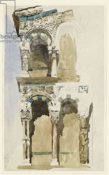 Part of the Façade of the destroyed Church of San Michele in Foro, Lucca, sketched in Colour, 30 June - 1 July 1846 (watercolour over graphite on wove paper)