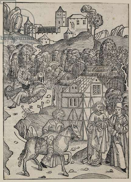 The second part of the parable of the good Samaritan, c. 1491 (woodcut, overworked with red watercolour, verso letterpress)