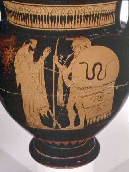 Attic red-figure column krater decorated with a sage and a warrior in armour (ceramic)