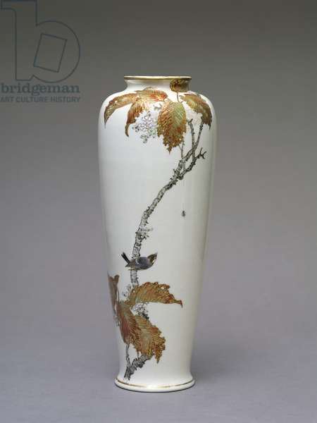 Cherry blossom vase, 'Meiji' period, early 20th century (earthenware)