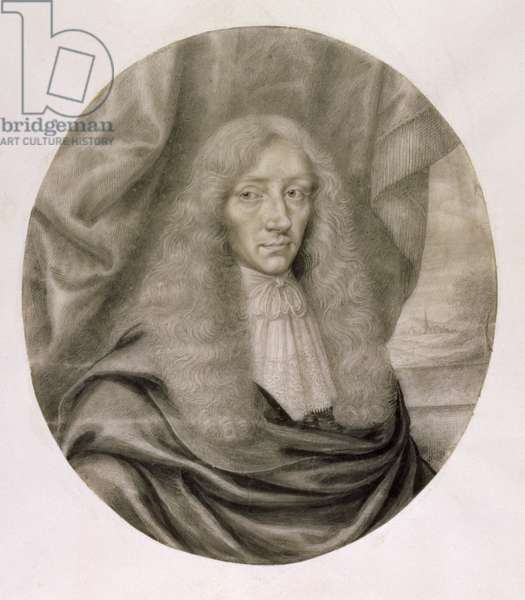 Portrait of Robert Boyle, 17th century (pencil & ink on paper)