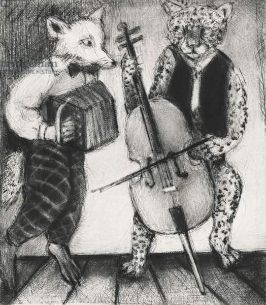 There Was This Jaguar – In Town, 2014 (drypoint)