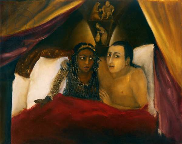 King Solomon and Queen of Sheba in the Hall of Riddles, 2004 (oil on gesso)
