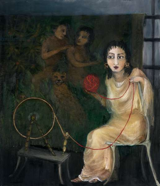 Tales of Trust & Betrayal V, 2008 (oil, pastel & gold leaf on paper)