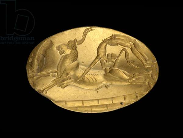 Seal ring depicting a bull-leaping scene, late Minoan, c.1500 BC (gold) (see also 419820)