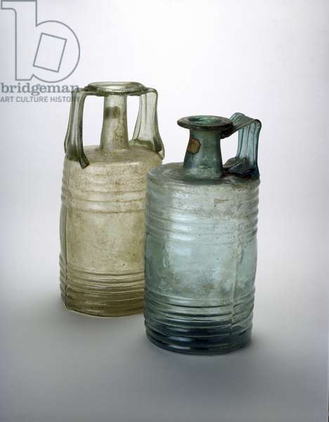 Two barrel-shaped bottles, 2nd-3rd century AD (glass)