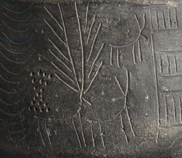 Detail of a bowl, with incised decoration depicting stags, from Los Millares, Spain, Copper Age, c.2000 BC (pottery) (detail of 121153)