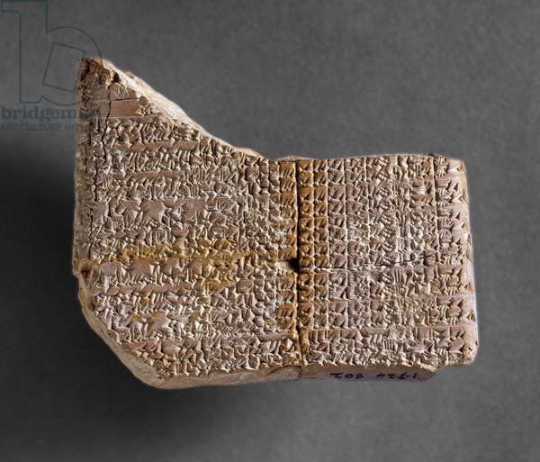 Astronomical tablet from Kish, recording the rising and settings of Venus from the first 6 years of the reign of the King of Babylon, 7th century (carved clay)