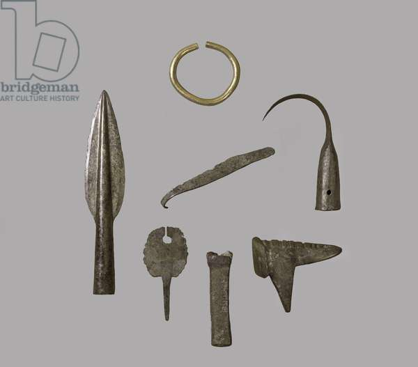 A hoard of ornaments and implements, from Fresn-la-Mere, France, Bronze Age (gold and bronze) (see also 121148)