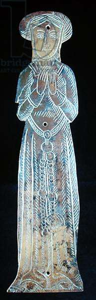 Memorial brass in the form of a middle-class lady, c.1520 (brass)