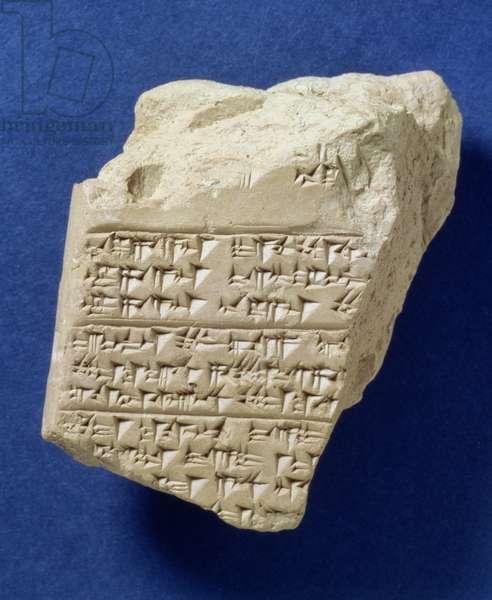Fragment of cuneiform text from Boghazkoy, Hittite, c.14th century BC (clay)