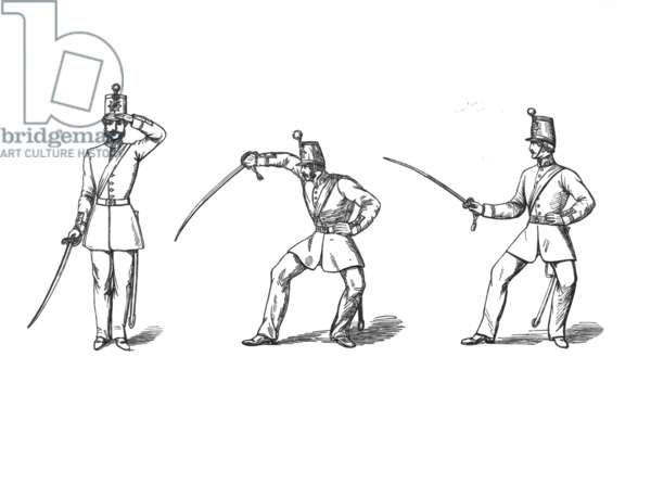 The Officer's Salute, the Guard Position and the Outside Guard Position (engraving)