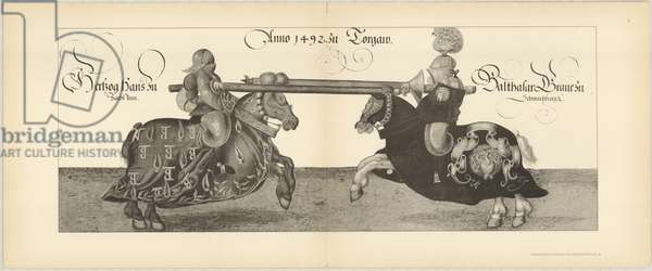 Illustration of knights jousting at tournament, Page 4 from Der Sachsischen Kurfursten Turnierbucher by Erich Haenel, 1910 (engraving)