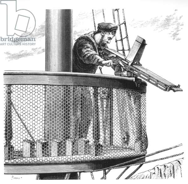 A 5 barrelled Nordenfelt gun mounted in the fighting top of a man-at-war, 1880s (engraving)