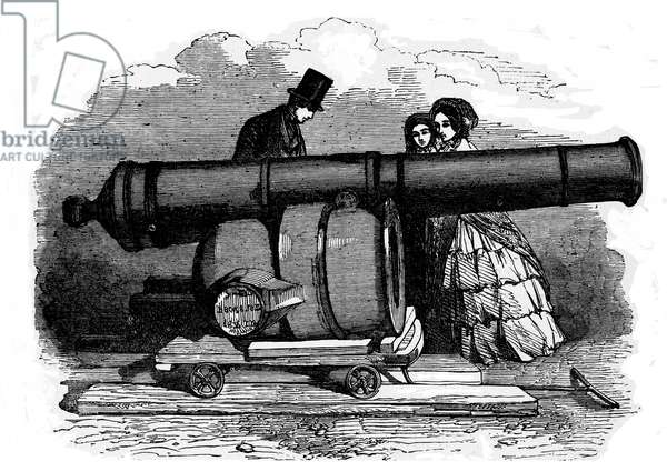 Trophies of War: Gun and a mortar from Bomarsund, at the Crystal Palace, c.1854 (engraving)