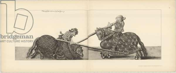 Illustration of knights jousting at tournament, from Der Sachsischen Kurfursten Turnierbucher by Erich Haenel, 1910 (engraving)