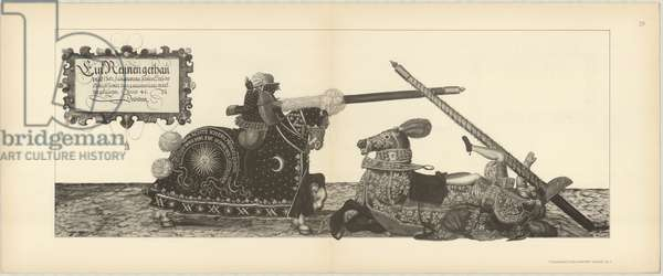 Illustration of knights jousting at tournament, from Der Sachsischen Kurfursten Turnierbucher by Erich Haenel, 1910 (engraving)