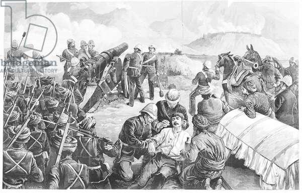 Heavy guns bombarding Fort Ali Musjid during the Afghan War (engraving)