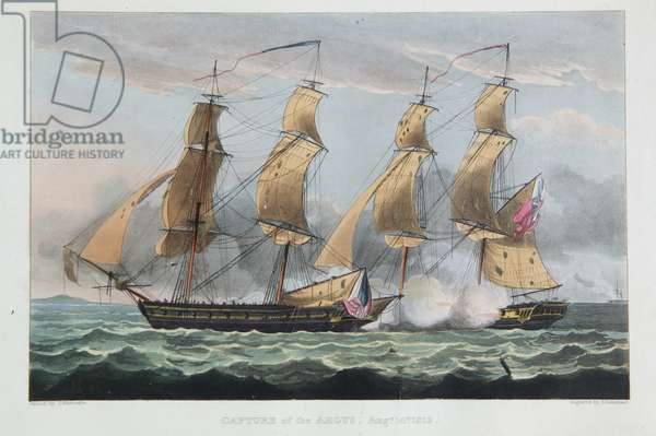 Capture of the Argus, August 14th 1813, from 'The Naval Achievements of Great Britain' by James Jenkins, engraved by Thomas Sutherland (b.c.1785) published 1817 (colour engraving)