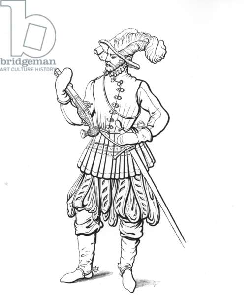 A late 16th century German horseman armed with sword and wheellock pistol (engraving)