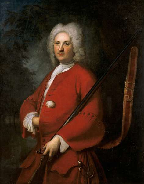 Portrait of a sportsman in a red coat, possibly English, early 18th century (oil on canvas)