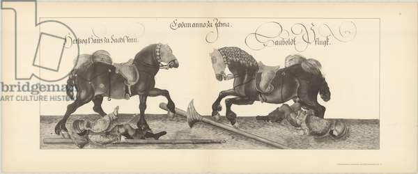 Illustration of knights jousting at tournament, Page 9 from Der Sachsischen Kurfursten Turnierbucher by Erich Haenel, 1910 (engraving)