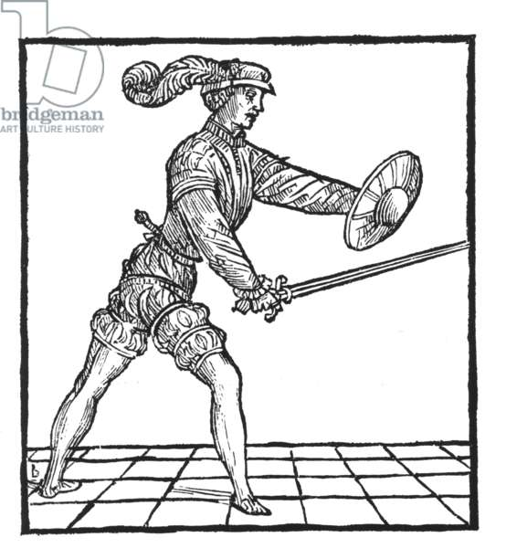 Man armed with a rapier and buckler (woodcut)