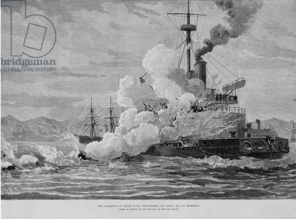 """""""The disaster on board H.M.S. Thunderer, off Ismid, Sea of Marmora"""", from The Illustrated London News. Vol. 74, 25th January 1879 (engraving)"""