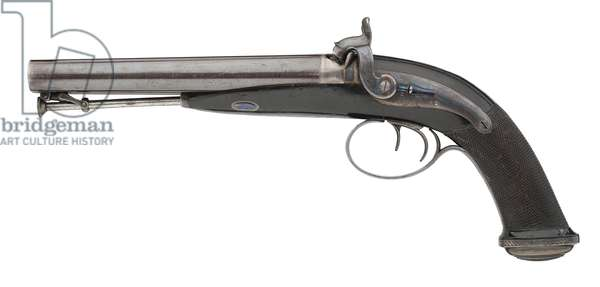 Percussion double barrelled pistol by J. Purdey, 1830 (metal)