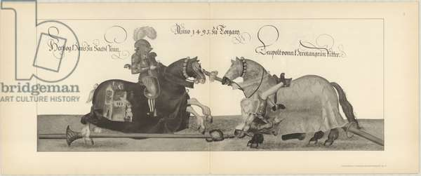 Illustration of knights jousting at tournament, Page 5 from Der Sachsischen Kurfursten Turnierbucher by Erich Haenel, 1910 (engraving)