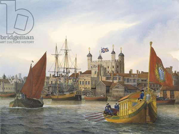 The Master General's barge with the Tower of London in the background (w/c on paper)