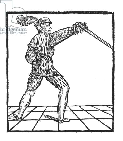 Man armed with a rapier (woodcut)