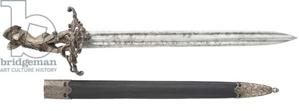 Hanger and scabbard, with hilt by Jules Wipse, marked Froment-Meurice, 1850 (metal & leather)