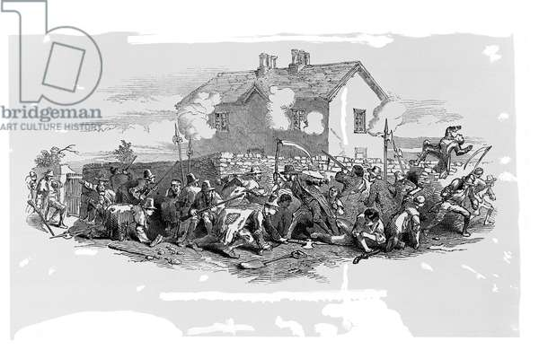 The affray at the widow McCormack's house on Boulagh Common, c.1848 (engraving)