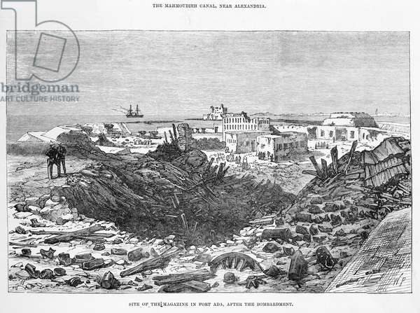 The Mahmoudieh Canal, near Alexandria: site of the magazine in Fort Ada, after the bombardment (engraving)