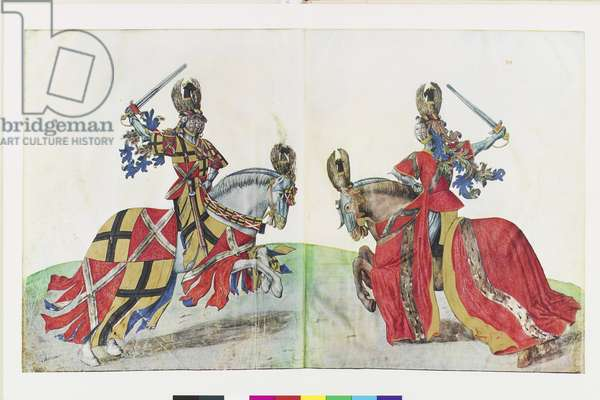"The Lords of Gruthuyse and Ghistelle engaged in combat with swords at a tournament, from a 1964 facsimile edition of 'Le Livre des tournois du Roi Rene: traite de la frome et devis d'un tournoi"" (colour litho)"