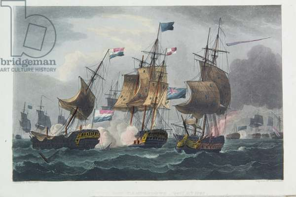 Action off Camperdown, October 11th 1797, engraved by Thomas Sutherland for J. Jenkins's 'Naval Achievements', 1816 (colour engraving)