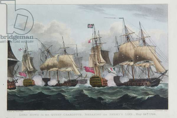 Lord Howe in the Queen Charlotte, Breaking the Enemy Line, May 29th 1794, engraved by Thomas Sutherland for J. Jenkins's 'Naval Achievements', 1816 (colour engraving)