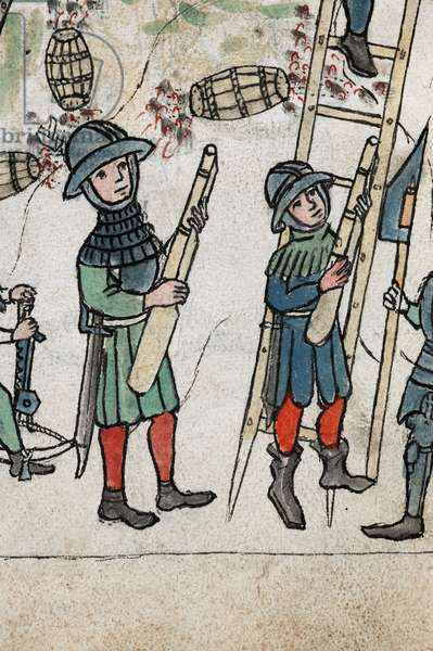 Detail of plate 84r from Feuerwerkbuch [Firework Book] showing the manufacture and uses of gunpowder, 1400-25 (parchment manuscript)
