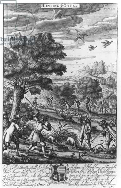 Hunting the Otter, c.1686 (engraving)