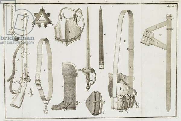 Diagram of the equipment for a horseman (engraving)