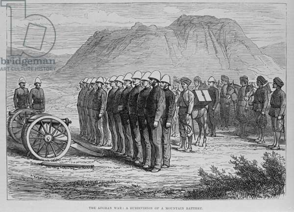 The Afghan War: a sub-division of a mountain battery (engraving)