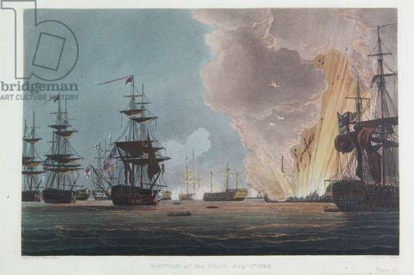 The Battle of the Nile, 1st August 1798, engraved by Bailey for J. Jenkins's 'Naval Achievements', 1816 (colour engraving)