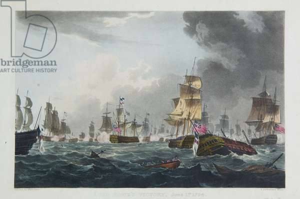Lord Howe's Victory, 1st June 1794, engraved by Thomas Sutherland for J. Jenkins's 'Naval Achievements', 1816 (colour engraving)