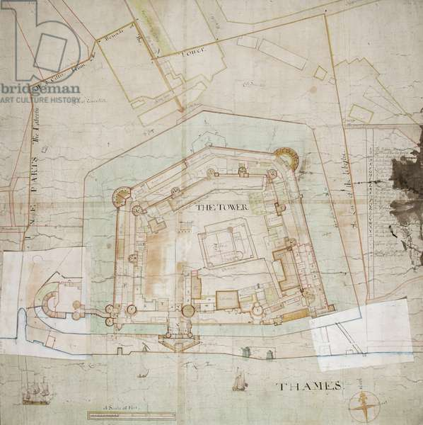 Map of the Tower of London, showing proposed changes to the western entrance and the Lion Tower, c.1682 (pen & ink on paper)