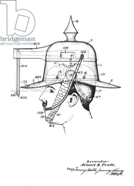 Albert B. Pratt's design for a pistol helmet. U.S. Patent No. 1,183,492 (May 16th, 1916) (litho)