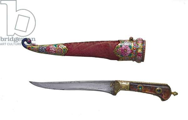 Dagger (peshkabz) and scabbard (metal, wood, velvet & enamel)