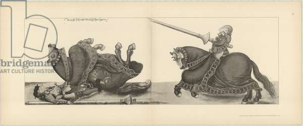 Illustration of knights jousting at tournament, Page 16 from Der Sachsischen Kurfursten Turnierbucher by Erich Haenel, 1910 (engraving)