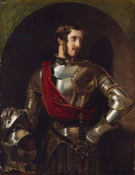 Portrait of Charles Sheridan, dressed in armour for the Eglinton Tournament, c.1839 (oil on canvas)